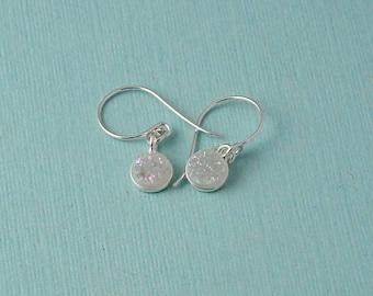 White Druzy Drop Earrings / round rainbow druzy earrings / dangle earrings