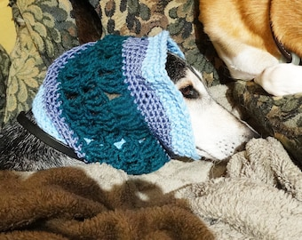 Handmade Crochet Hound Snood Saluki Sighthound One of a Kind Blue and Teal