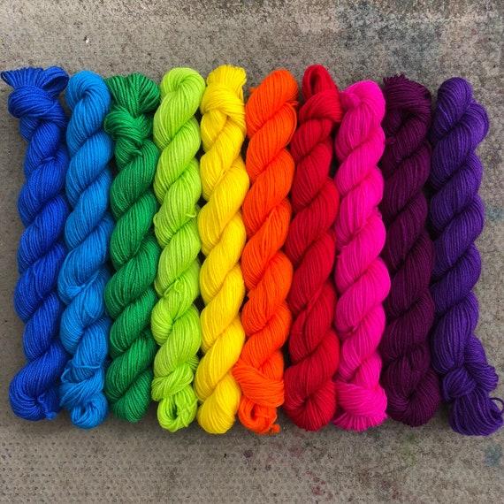 Rainbow Miniskein Gift Set (May dyelot), 10 x 20g bright solid colour merino nylon sock yarn
