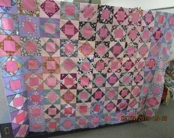 Vintage 1930s Hand Pieced Quilt Top Feed Sack Cotton Patchwork 84 x 88