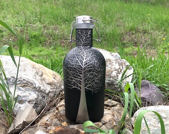 Hand Etched Growler / Beer Lover Gift / Craft Beer Gift / Growler Gift / Tree / Growler Beer Bottle / Birthday
