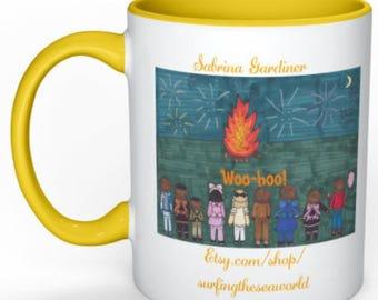 Yellow Bonfire Fireworks Coffee Mug