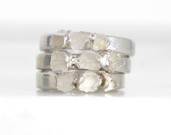 raw quartz stacking ring | april birthstone ring | april birthstone jewelry | alternative engagement ring | raw crystal ring | gemstone ring