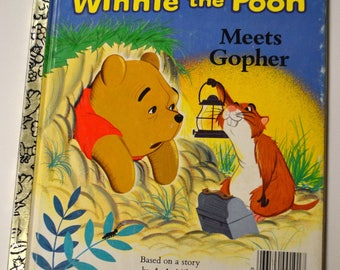 Vintage Children's Book Winnie the Pooh Meets Gopher Walt Disney Little Golden Book