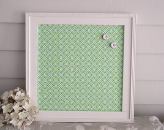 Cottage Magnet Board in Lime Green Fabric - Magnetic Bulletin Board Message Board 14.5 x 14.5 and Vintage Button Magnets