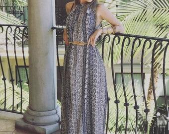 Halter Maxi dress with Pockets