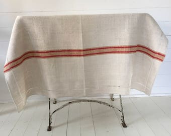 NCT1712 Red and Mustard Stripe Tablecloth Linen for Cafe Tables Small Tables with Monograms Vintage Fabric Handmade Linen