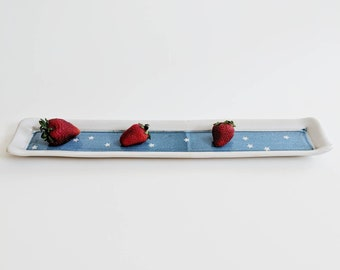 RECTANGLE TRAY in BLUE/// Ceramic Tray, Long Tray, Serving Tray, Stars, Blue Ceramic Tray, Long Pottery Tray, Rectangle Platter, Candle Tray