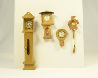 Vintage Miniature Grandfather clock and wall clocks