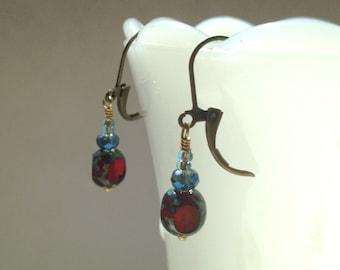 Red Picasso Czech Glass Earrings Deep Red Blue Swarovski Earrings