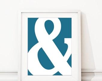 Ampersand Art Print - Minimalist Art Print - Home Decor - Bedroom Art - Office Art - Bathroom Art Decor - & Sign - Blue White (S-376)