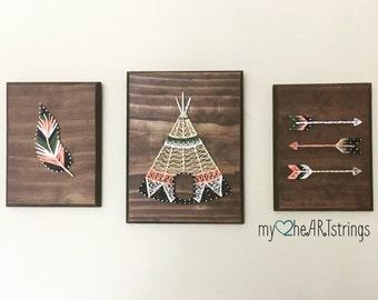 Love my Tribe string art trio-  feather, arrow, teepee