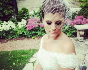 Oversized Birdcage Veil with Detachable Champagne Blush and Ivory Hairpiece