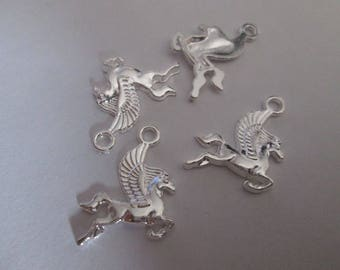 10 charms Pegasus winged horse metal silver 24 x 20 mm