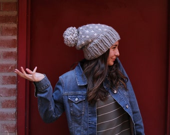 Thick hand-knit beanie