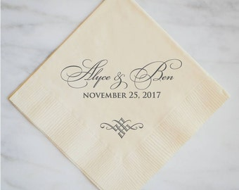 Personalized Classic Formal Name & Date Napkins, Custom Wedding Napkins, Personalized Napkins, Custom Bridal Shower Napkins