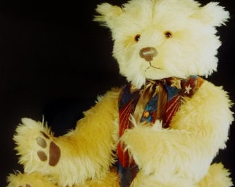 """Vintage Large Stuffed Teddy Bear """"TAYLOR"""" Sewing Pattern, 30"""" Tall, Fully Jointed, The Fuzzy Bear Co, UNCUT Full Size Pattern"""