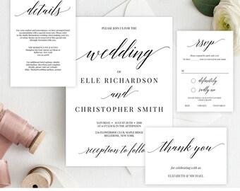 Rustic Wedding Invitation Suite, Printable Wedding Invitation Template, Modern Wedding Invitation, DIY Wedding Instant Download Editable WI3