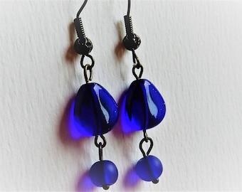 Cobalt Blue Earrings, Blue Glass Earrings, Cobalt Blue Jewelry, Drop Earrings