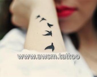 Flying Birds Tattoo, Tattoo Bird, Temporary Tattoo, Swallow Tattoo, Bird Temporary Tattoo,  tattoo quote, wrist tattoo, fake tattoo