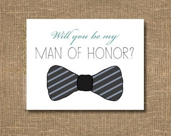 Will you be my Best Man / Man of Honor / Will you be my Groomsman / Junior Groomsman / Usher / Ring Bearer / Bow Tie Groomsman - Invitation