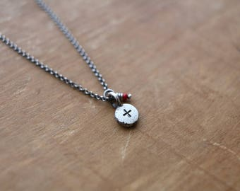 pacem medal #7, oxidized sterling silver necklace