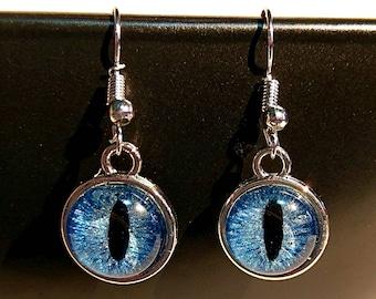 Blue Hand-Painted Dragon Eye Hook Earrings