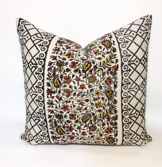"""Hand block printed black and yellow pillow 