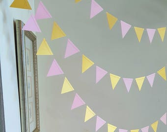 Pick Color/ Geometric Triangle Garland,Triangle garland (12F) Pick Your Color,Pink and gold garland,Geometric garland,Wild one party decor,