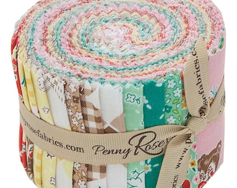 """SALE Fabric Riley Blake Apple Farm Rolie Polie 2.5"""" Fabric Quilting Strips Jelly Roll Penny Rose RP-5450-40"""
