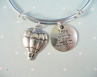 Hot Air Balloon Bangle Bracelet, Balloon Bracelet, Live Your Dream Bangle Bracelet, Adjustable Stainless Steel Bangle Bracelet, Gift For Her