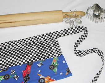 Racecars and Checkered Flags Child Apron