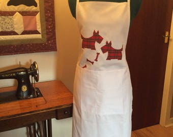 White scotty dog apron
