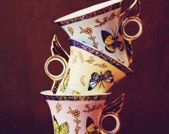 Fine Art Print, Butterfly Teacups, Whimsical Art, Still Life Print, Cafe Art, Alice in Wonderland, Kitchen Art, Teacup Photo, Colorful Art