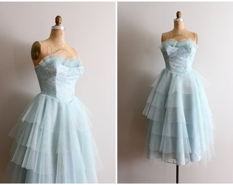 vintage 50s strapless tulle dress - 1950s prom dress / pastel tulle & lace party dress - aqua blue / vintage bridesmaid dress