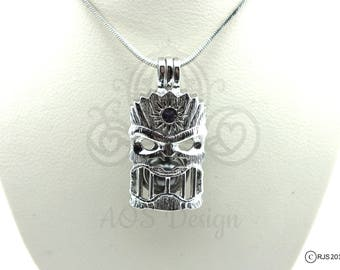 Pick A Pearl Cage Necklace Tiki Head Totem Hawaii Tahiti Silver Plated Locket Charm Necklace Holds 2 Pearls Maui