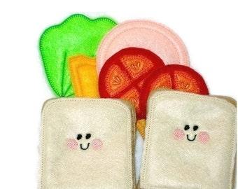 Felt play food - pretend food - play kitchen food -  Pretend play food - Smiley face sandwich #PF2501SMILEY