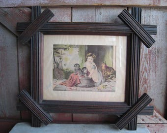 Antique Black Forest Mission Frame Print Girl Puppies Dogs Titled Take Your Choice Hunting Cabin Lodge Decor