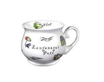 Porcelain mug, coffee pot, Ball mug-Langeooger Pott-Maritime *