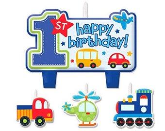 Adorable 4 Pc Birthday Candle Set  - Colorful All Aboard Transportation Theme - Birthday Boy - 1st Birthday