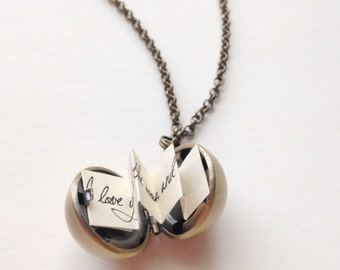 Love Note Ball Locket - Brass Golden Snitch Locket - Secret Message Pendant
