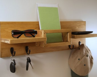 Mail Organizer/Key/Coat and Hat Rack/Double Shelf/Special Walnut Finish