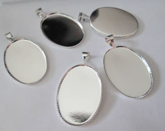 x 5 oval medium silver / Locket for 25 * 18mm cabochons