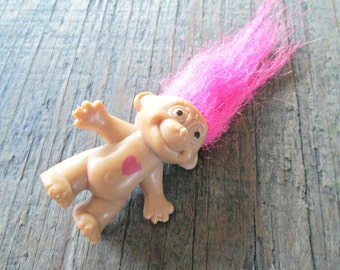 Troll Doll Brooch, Troll with Neon Pink Hair, 1990's Toy, Troll with Heart Pin, Cute Jewelry, Teen Jewelry, Kitchy Cute Jewelry
