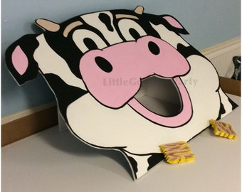 Cow Toss Game . Farm Birthday Party Games . 1 Corn Hole Game