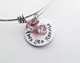 I Love you Grandmother Charm Grandchildren Birthstones Bangle Bracelet