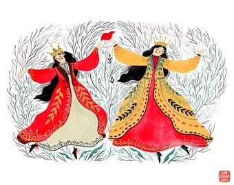 Two princesses art print