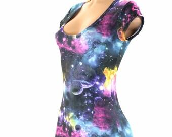 UV Glow Galaxy Print Cap Sleeve Romper Bodysuit Onsie (No Hood) Rave Festival Clubwear 151654