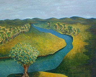 American Landscape Painting South Dakota Painting  River Painting  Dreamy Art