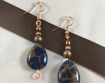 Copper and Blue Stone Drop Earrings
